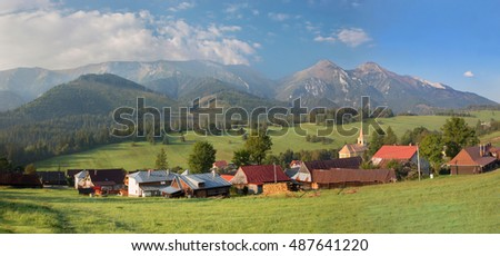 Panorama of Belianske Tatry mountains and Zdiar village.