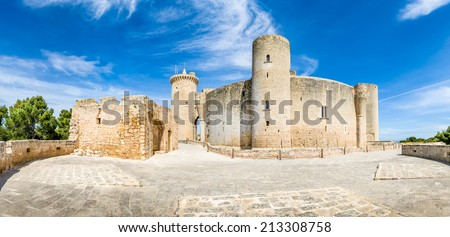 Panorama of Bellver Castle fortress in Palma-de-Mallorca - stock photo