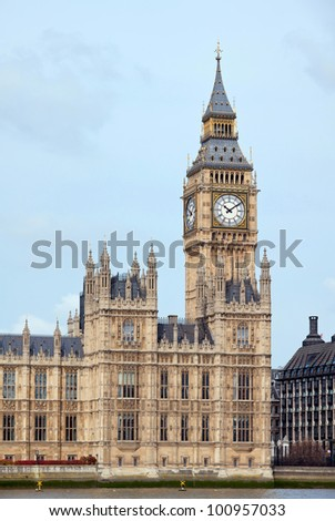 Panorama of Big Ben and House of Parliament at River Thame London England UK