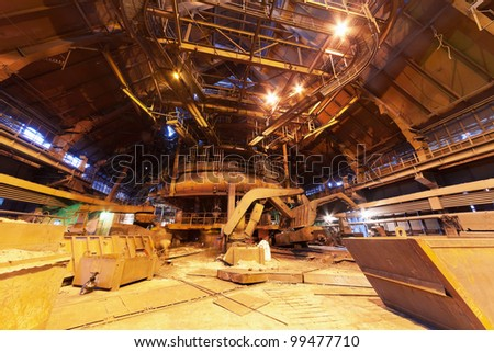 Panorama of blast furnace workshop of metallurgical plant - stock photo