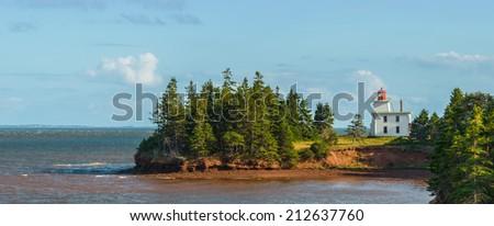 Panorama of Blockhouse Point Lighthouse  (Prince Edward Island, Canada) - stock photo