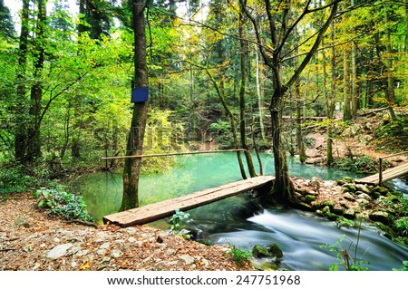 Panorama of blue cyan lake Ochiul Bei in the middle of the forest in Beusnita National Park ,Romania - stock photo
