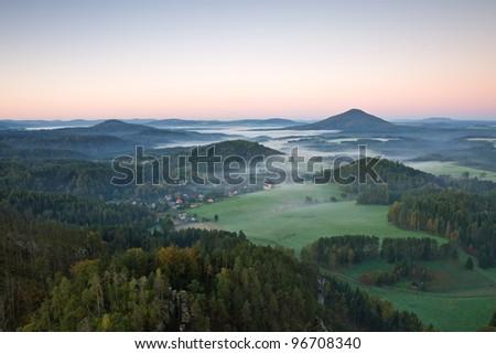 panorama of bohemian switzerland, czech republic - stock photo