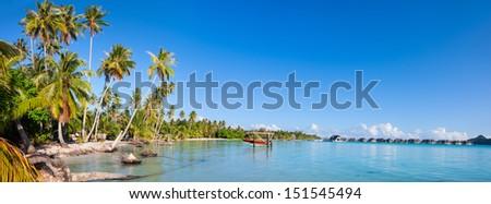 Panorama of Bora Bora coast - stock photo