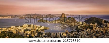 Panorama of Botafogo Bay in  Rio de Janeiro, Brazil - stock photo