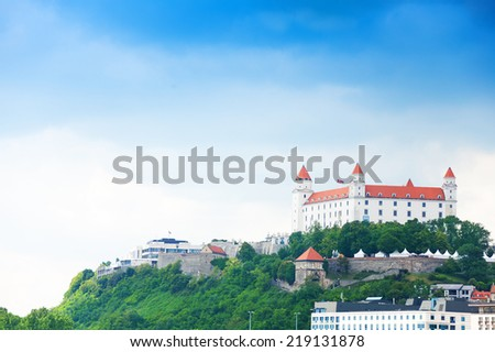 Panorama of Bratislava castle on the hill, Slovakia eastern Europe - stock photo