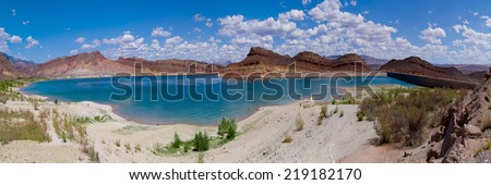 Panorama of breathtaking landscape in Quail creek state park zion national park - stock photo