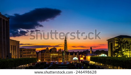 Panorama of Brussels city center at summer night - stock photo