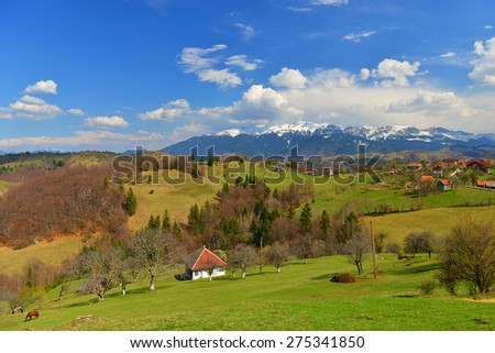 Panorama of Bucegi mountains in Romanian Carpathians in the spring - stock photo