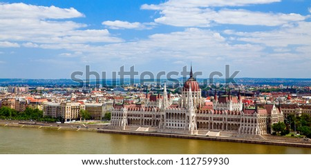panorama of Budapest city in Hungarian with the building of the Parliament - stock photo