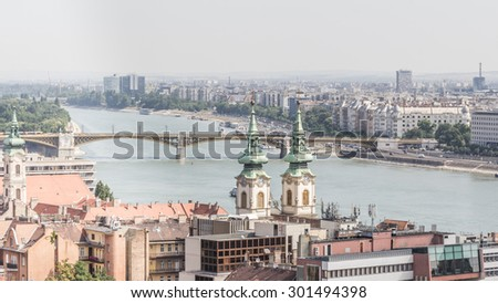 Panorama of Budapest from the hIgher castle district.