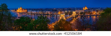Panorama of Budapest, Hungary, with the Chain Bridge and the Parliament in twilight