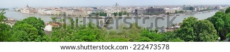 Panorama of Budapest with Chain Bridge on Danube River from Castle Hill, Hungary  - stock photo