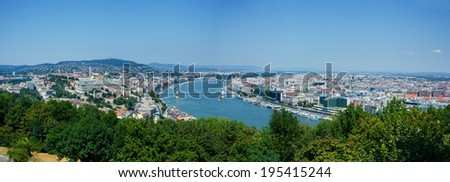 Panorama of Budapest with Danube, Buda hill and Pest - stock photo