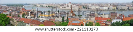 Panorama of Budapest with Danube River and Parliament from Fisherman's Bastion, Castle Hill, Hungary  - stock photo