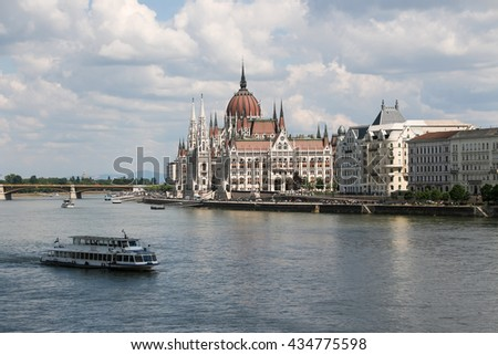 Panorama of Budapest with the Danube and the Parliament building, Hungary - stock photo
