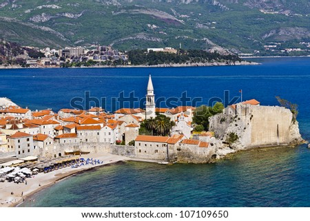 Panorama of Budva Old town. Budva - one of the best preserved medieval cities in the Mediterranean. Montenegro, Europe