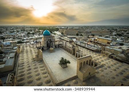 Panorama of Bukhara, Uzbekistan - stock photo