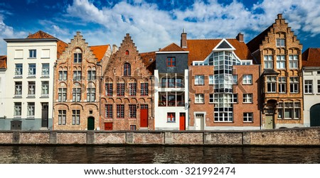 Panorama of canal and medieval houses. Bruges (Brugge), Belgium - stock photo