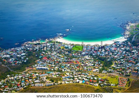 Panorama of Cape Town city (South Africa), with a coastline on a clear day - stock photo