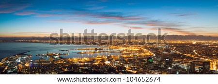 Panorama of Cape Town Waterfront and Downtown. Early rising in the city. (South Africa) - stock photo