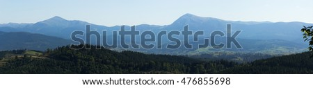 Panorama of Carpathian mountains