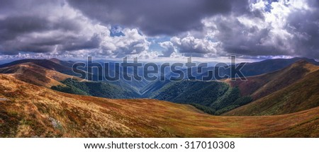 Panorama of Carpathian mountains. Borzhava ridge. - stock photo