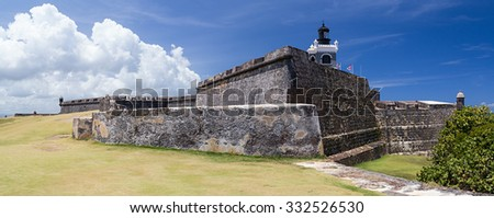 Panorama of Castillo San Felipe del Morro, San Juan Puerto Rico - stock photo