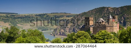 Panorama of Castle Schoenburg abiove the rhine valley, Germany - stock photo