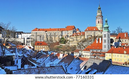 Panorama of Cesky Krumlov, city protected by UNESCO. - stock photo