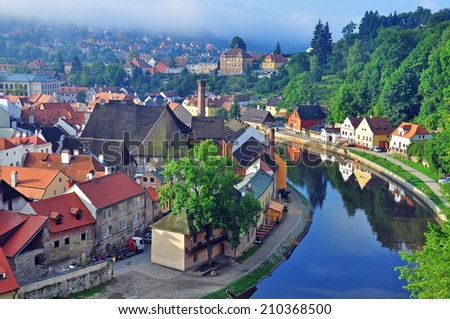 Panorama of Cesky Krumlov, Czech Republic - stock photo