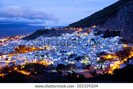 Panorama of Chefchaouen blue Medina at sunset in Morocco, Africa.