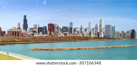 panorama of chicago city  - stock photo