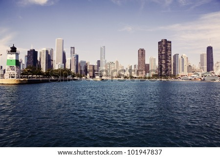 Panorama of Chicago seen from Lake Michigan