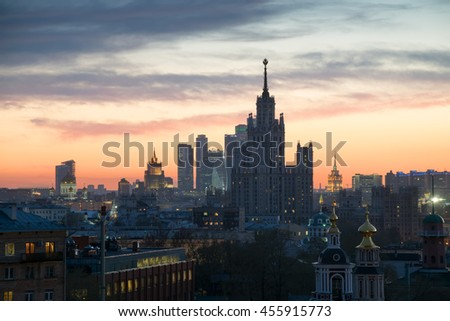 Panorama of churches, Stalin skyscraper and skyscrapers at sunset in Moscow, Russia