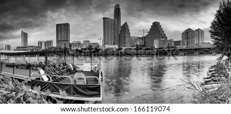 Panorama of City of Austin Skyline in Black and White - stock photo