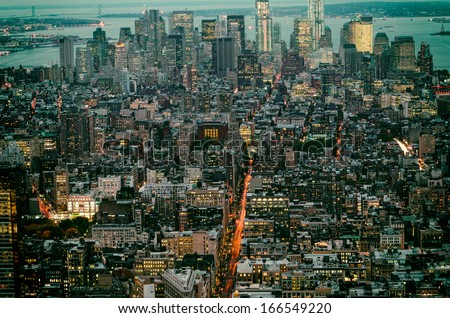 Panorama of City of New York City Downtown - stock photo