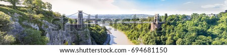 Panorama of Clifton Suspension Bridge, Bristol, Avon, England, UK