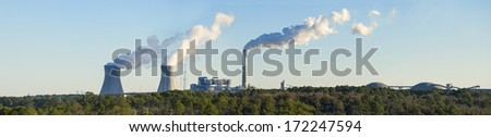 panorama of coal fired powerplant in Jacksonville, Florida - stock photo