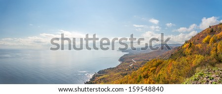 Panorama of  Coastal Scene  (Cape Breton, Nova Scotia, Canada) - stock photo