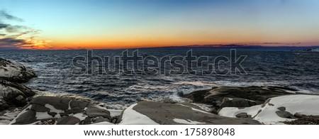 Panorama of  Coastal Scene (Peggys Cove's, Nova Scotia, Canada) - stock photo