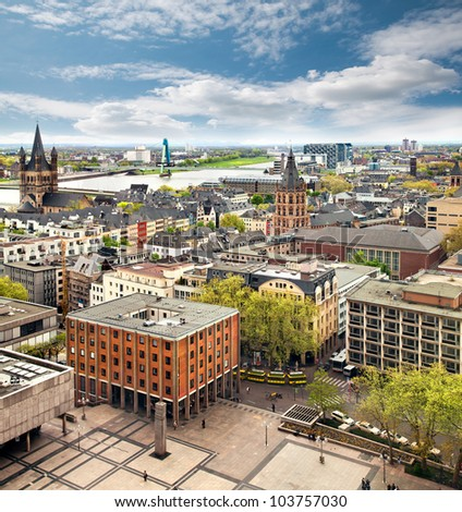 Panorama of Cologne, Germany - stock photo
