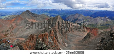 Panorama of Colorado 14er, Wilson Peak and the San Juan Range, Rocky Mountains, Colorado - stock photo