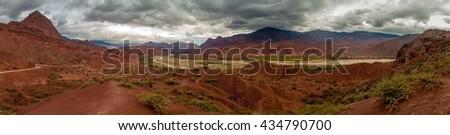 Panorama of colorful rock formations in Quebrada de Cafayate, Argentina - stock photo