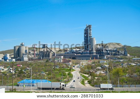 Panorama of concrete plant on a top of the hill. Russian Federation