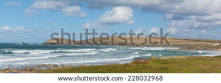 Panorama of Constantine Bay Cornwall England UK Cornish north coast between Newquay and Padstow on a sunny blue sky day - stock photo