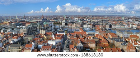 Panorama of Copenhagen, Denmark - stock photo