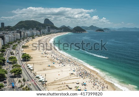 Panorama of crowded Copacabana Beach, aerial view, Rio De Janeiro - stock photo