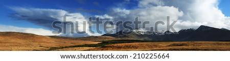 Panorama of Cuilin Mountains, Island of Skye, Scotland, Europe - stock photo