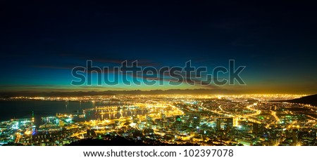Panorama of Dawn in the City (South Africa, Cape Town) - stock photo